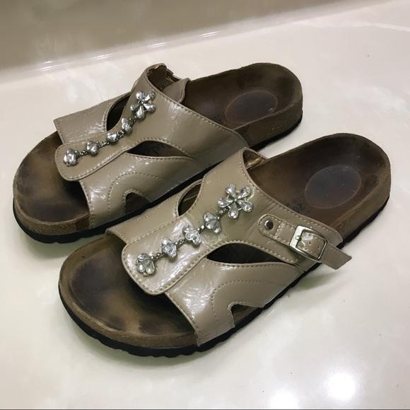 800e5765ec04ae Birkenstock Shoes - Betula Birkenstock leather jeweled sandals 10